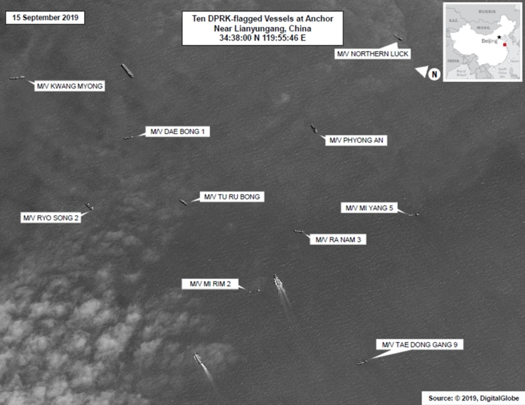 10Ships.jpg Lianyungang is in East China Sea where North Korea's illegal ship-to-ship transfers take place  Source: U.N. Member