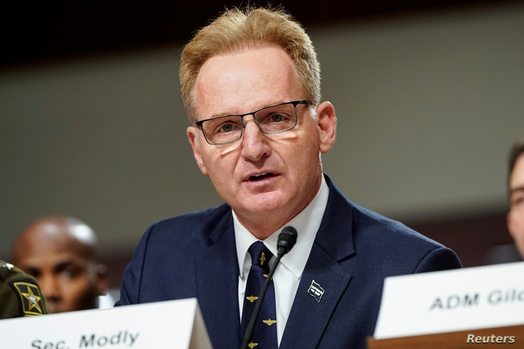 Acting Secretary of the Navy Thomas Modly, testifies to the Senate Armed Services Committee during a hearing examining military…