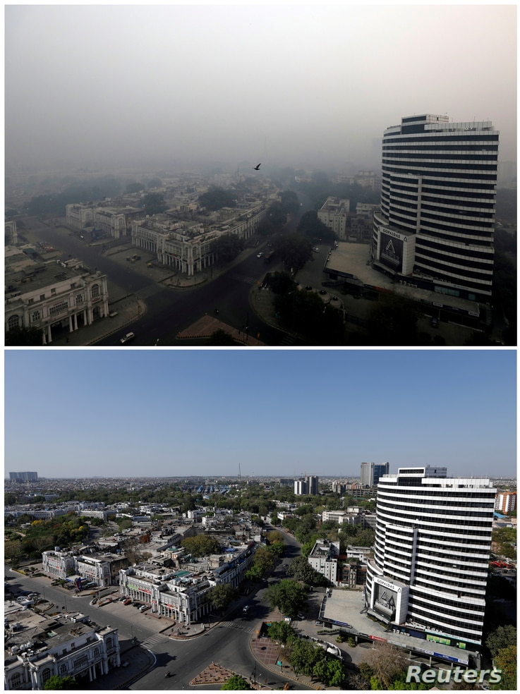 FILE PHOTO: A combo shows buildings on November 8, 2018 and after air pollution level started to drop during a 21-day…