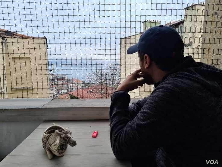 At our apartment in Istanbul, April 20, 2020. (Heather Murdock/VOA))