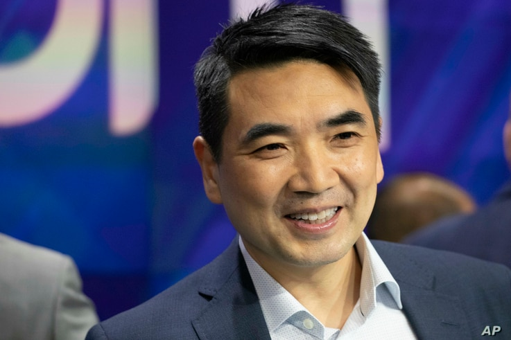 Zoom CEO Eric Yuan attends the opening bell at Nasdaq as his company holds its IPO, Thursday, April 18, 2019, in New York. The…