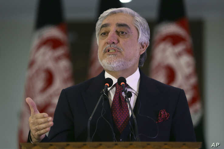 FILE - In this Feb. 29, 2020, file photo, Afghan Chief Executive Officer Abdullah Abdullah speaks during a news conference in…