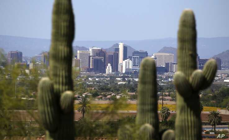 Framed by saguaro cactus, the downtown Phoenix skyline is easier to see, Tuesday, April 7, 2020, as fewer motorists in Arizona…