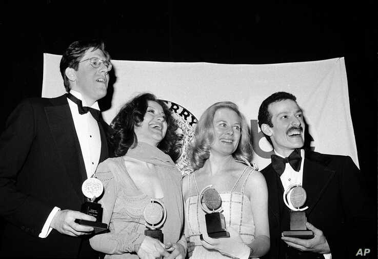 FILE - In this April 18, 1976 file photo, Tony winners, from left, Edward Herrmann, Carole Bishop, Shirley Knight and Sammy…