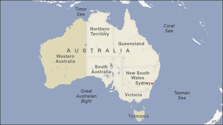 Map of Australia, featuring Sydney, Western Australia, and Tasmania