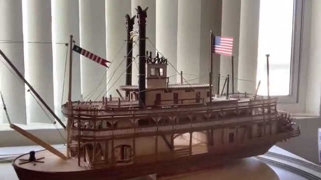 River boat model used in his granddaughters' online lessons provided by retired professor and grandparent David Smith via Skype.