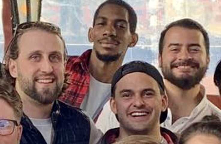 Francis Wilson, right, and Zack Armstrong, left, their third roommate Bruce Barlow, center) and friend Jordan in happier times.