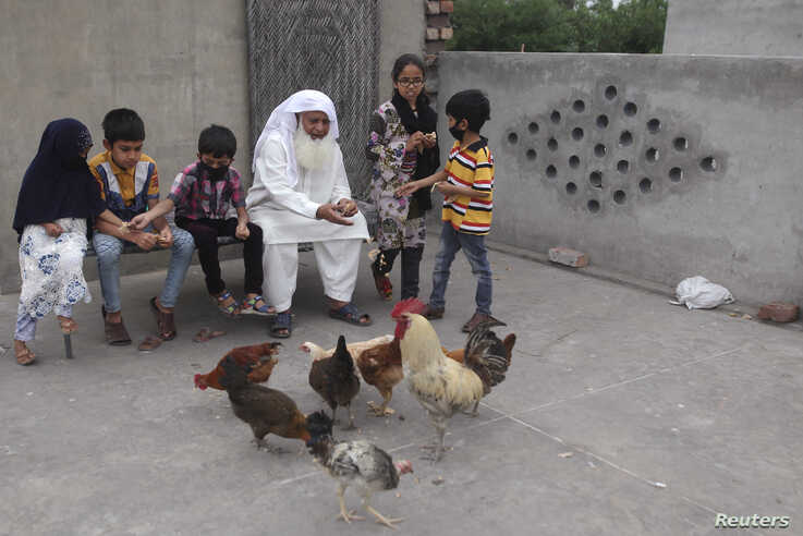 A man sits with his grandchildren as he feeds chickens on the roof of his house during a lockdown in Pakistan