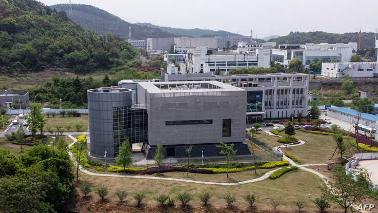 An aerial view shows the P4 laboratory at the Wuhan Institute of Virology in Wuhan in China's central Hubei province, April 17, 2020.