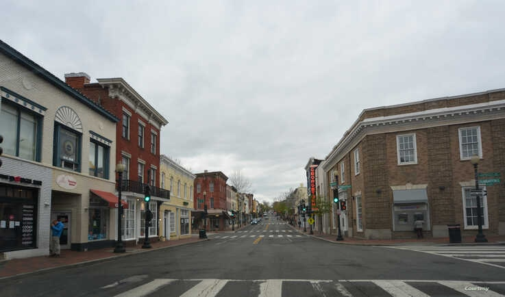 The streets are empty in the usually crowded shopping district of Georgetown, one of the very busy shopping areas of …