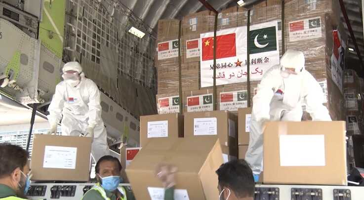 Emergency medical supplies and equipment from China are unloaded at an Air Force base near Islamabad, April 24, 2020. (Courtesy ISPR)