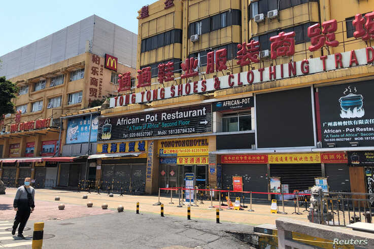 An African restaurant is closed along with other businesses in Guangzhou's Sanyuanli area, where a neighborhood is in lockdown after several people tested positive for the coronavirus, in Guangdong province, China, April 13, 2020.