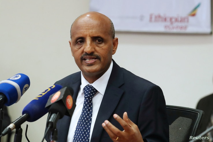 Ethiopian Airlines CEO Tewolde Gebremariam speaks during a news conference in Addis Ababa, Ethiopia April 7, 2020.