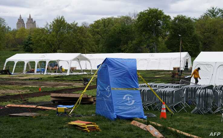 A field hospital set up in New York City's Central Park,  run by nonprofit Samaritan's Purse to treat COVID-19, coronavirus…