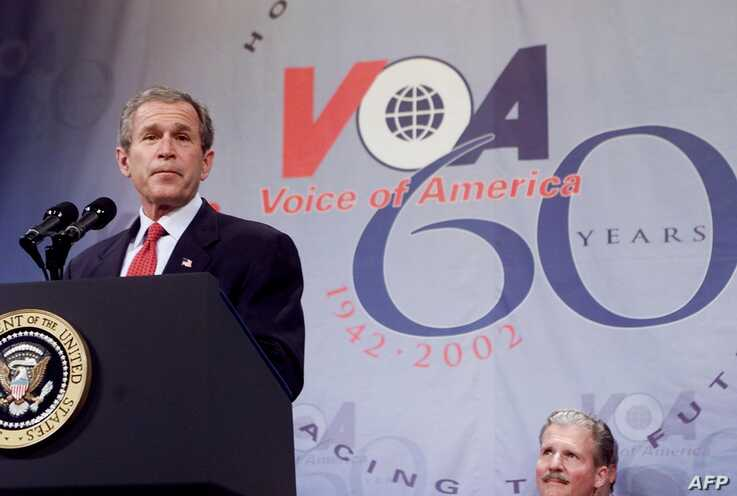 President George W. Bush speaks at a celebration for the 60th anniversary for the Voice of America February, 25, 2002.