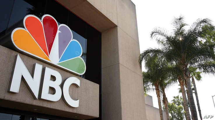 Picture showing the logo of the NBC Television in front of the Channel building in Burbank, CA, 11 October 2006. AFP PHOTO…
