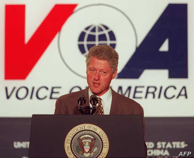 US President, Bill Clinton speaks at the Voice of America in Washington 24 October. Clinton said that his policy of engagement…