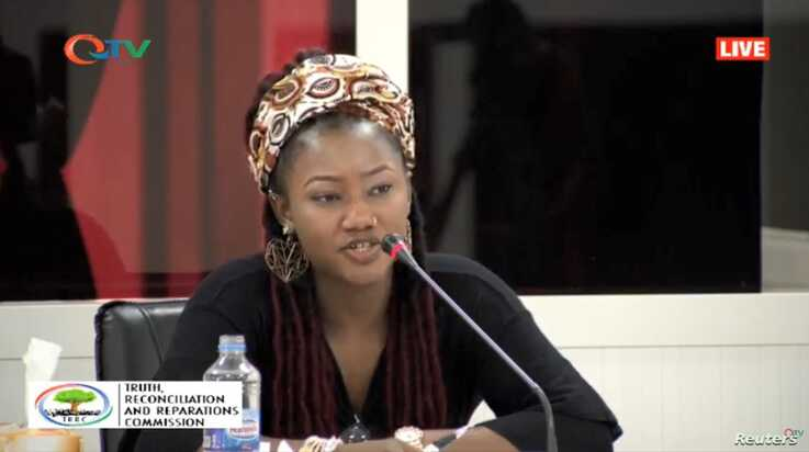 "Fatou ""Toufah"" Jallow testifies before the Truth, Reconciliation and Reparations Commission in the Gambia in a video broadcast…"