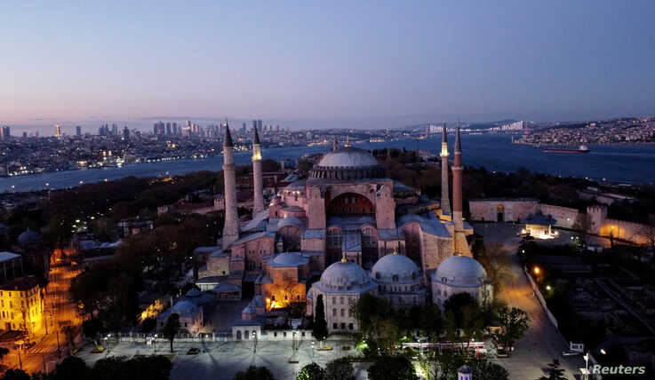 FILE PHOTO: An aerial view of the Byzantine-era monument of Hagia Sophia in Istanbul, Turkey, April 24, 2020. Picture taken…