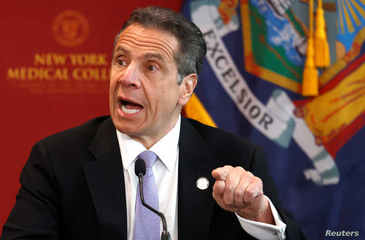 New York Governor Andrew Cuomo holds his daily briefing at New York Medical College during the outbreak of the coronavirus…