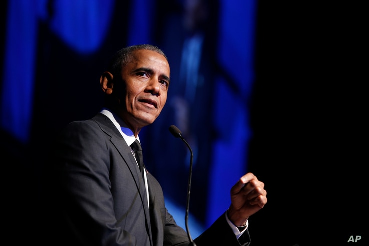 FILE - In this Dec. 12, 2018, file photo former President Barack Obama accepts the Robert F. Kennedy Human Rights Ripple of…