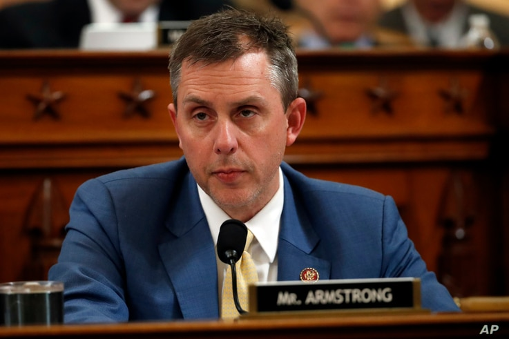 Rep. Kelly Armstrong, R-N.D., speaks during a House Judiciary Committee markup of the articles of impeachment against President…