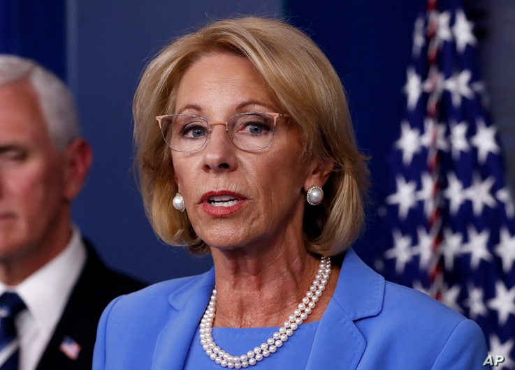 Education Secretary Betsy DeVos speaks about the coronavirus in the James Brady Press Briefing Room, Friday, March 27, 2020, in…