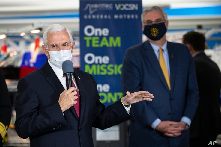 Vice President Mike Pence speaks during a visit to the General Motors/Ventec ventilator production facility with Indiana Gov.