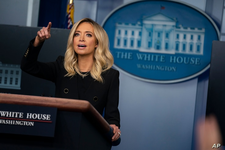 White House press secretary Kayleigh McEnany speaks during a press briefing at the White House, Friday, May 1, 2020, in…