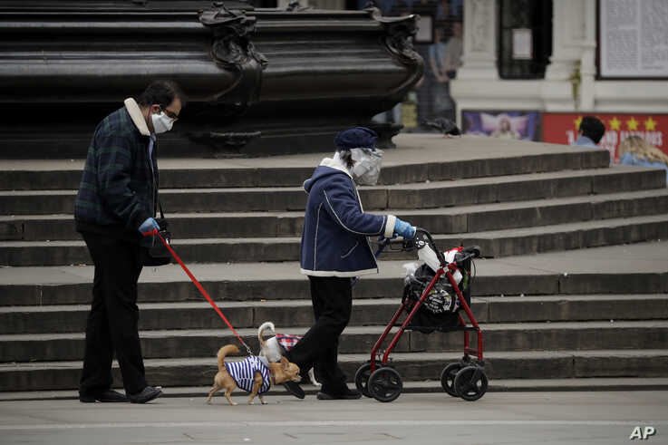 A woman wearing a home made face shield and mask walks a dog in Piccadilly Circus, central London, Sunday, May 3, 2020.