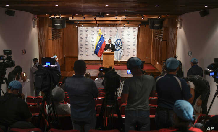 Venezuela's Attorney General Tarek William Saab gives a press conference regarding what the government calls a failed attack…