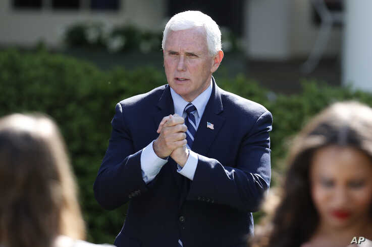 Vice President Mike Pence speaks to attendees after a White House National Day of Prayer Service in the Rose Garden