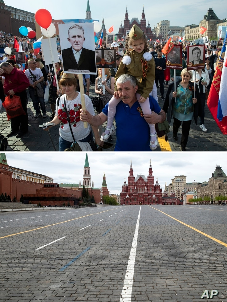 In this two photo combination picture, top photo shows people carry portraits of relatives who fought in World War II, during…