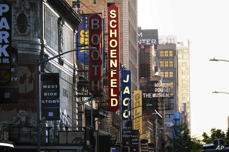 Broadway theaters sit closed during the COVID-19 lockdown in New York, May 13, 2020.
