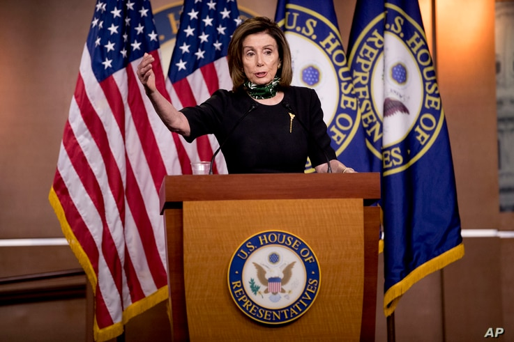 House Speaker Nancy Pelosi of Calif., speaks during a news conference on Capitol Hill, Thursday, May 14, 2020, in Washington. …