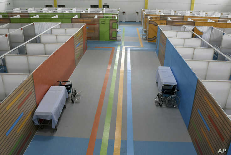 Facilities are seen in the field hospital set up in a gym in the El Menzah district of Tunis, Thursday, May 14, 2020.