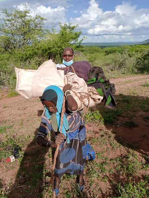 People have been displaced from Wachile, Southern Oromia region of Ethiopia, May 5, 2020. The country is trying to avoid a food crisis caused by a huge invasion of locusts.