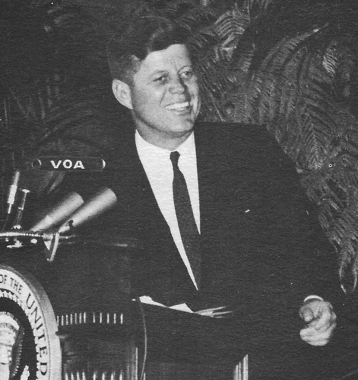 President Kennedy at the Voice of America in 1962.