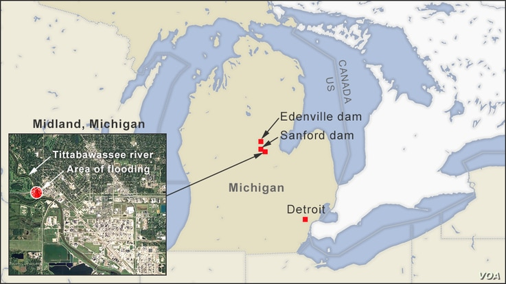 Map of Michigan flooding, showing locations of Sanford and Edenville dams, and an inset of the city of Midland, MI