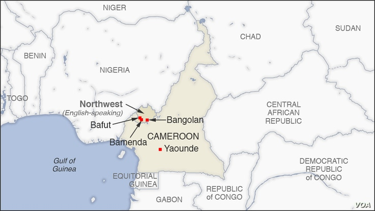 Map of Northwest Cameroon, Bamenda and Bafut