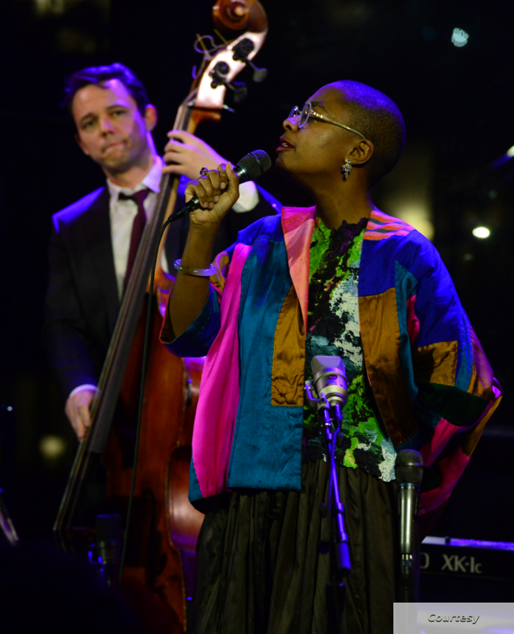 Paul Sikivie plays the bass alongside vocalist Cecile McLorin Salvant at a memorial concert for Lawrence Leathers held on February 3rd, 2020 at Dizzy's Club at Lincoln Center. Credit: Frank Stewart/Jazz at Lincoln Center