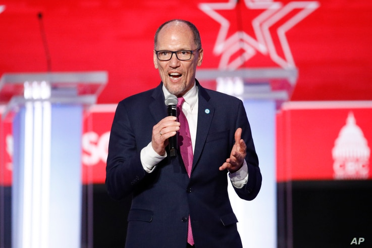 Democratic National Committee chair Tom Perez speaks before the start of the Democratic presidential primary debate at the Gaillard Center, Feb. 25, 2020, in Charleston, South Carolina.