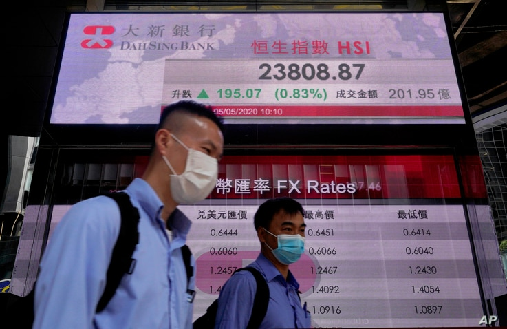 People wearing face masks walk past a bank electronic board showing the Hong Kong share index, May 5, 2020.