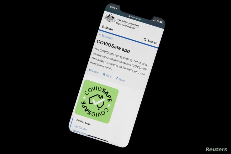 An illustration picture shows the new COVIDSafe app by the Australian government on a mobile phone, as the country works to curb the spread of the coronavirus disease (COVID-19), April 28, 2020.