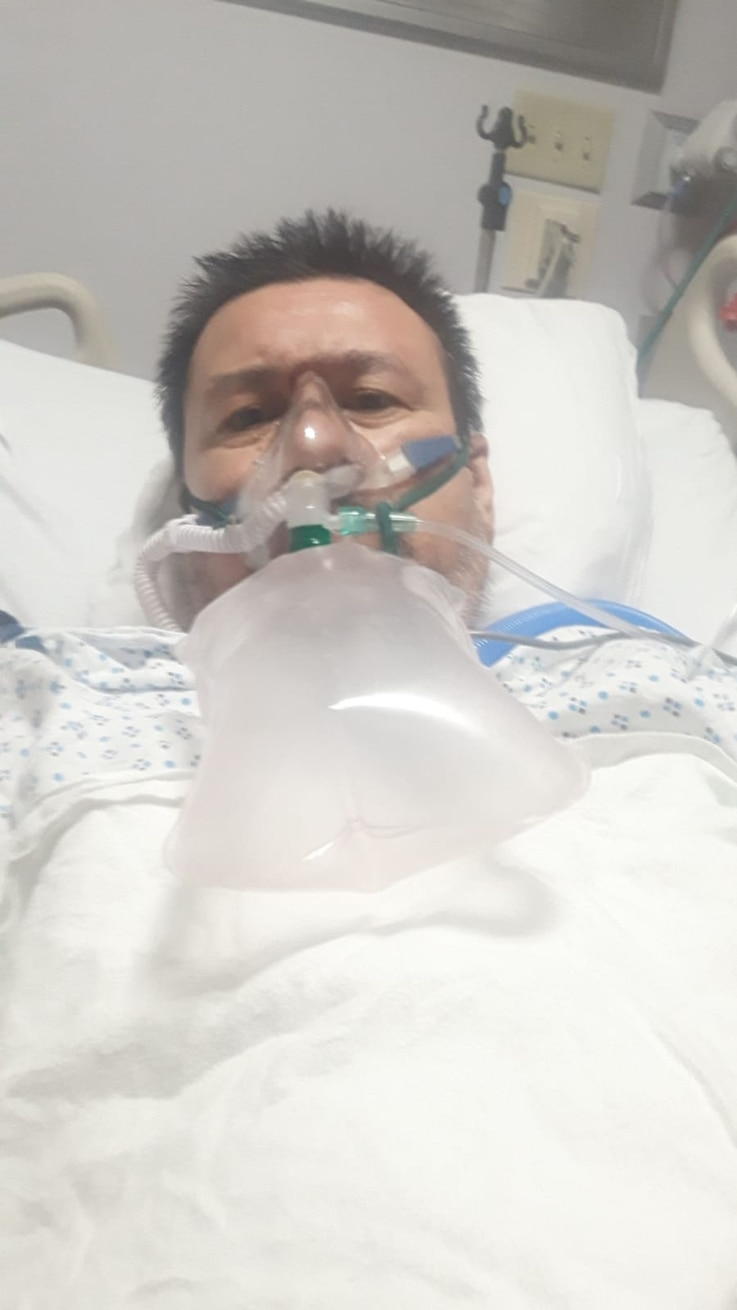 Yvan Osorio, a photojournalist from Venezuela and a friend of Celia Mendoza, sent her this photo from his hospital bed, where he died after weeks of battling the coronavirus on May 1st.