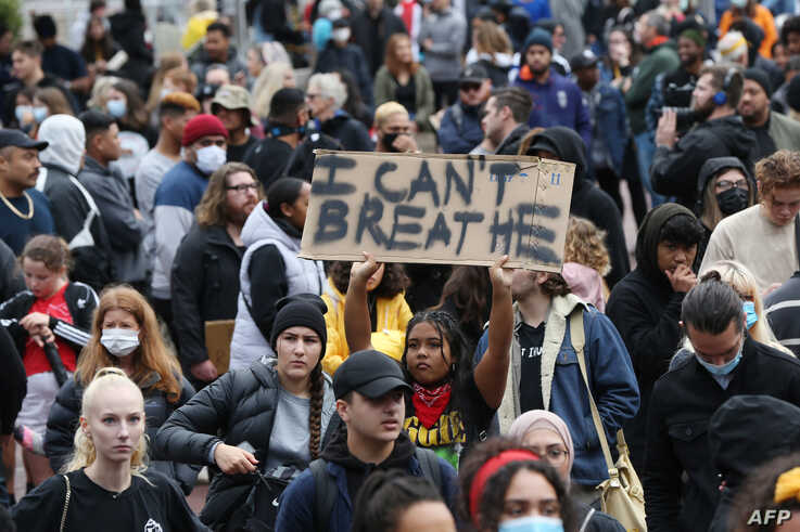 Some 4,000 New Zealand protesters demonstrate against the killing of Minneapolis man George Floyd in a Black Lives Matter…