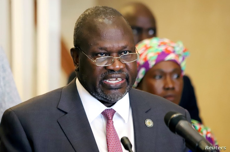 South Sudan's Vice President Riek Machar addresses a news conference, as the first case of coronavirus disease (COVID-19) has…