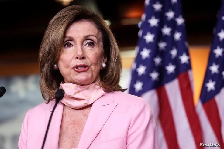 U.S. House Speaker Nancy Pelosi (D-CA) addresses her weekly news conference with Capitol Hill reporters
