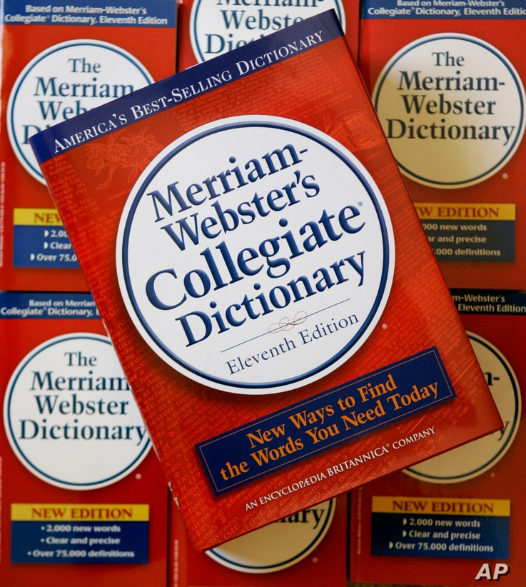 The eleventh edition of Merriam-Webster's Collegiate Dictionary is seen stacked on other dictionaries at the company's headquarters in Springfield, Mass., July 3, 2007.