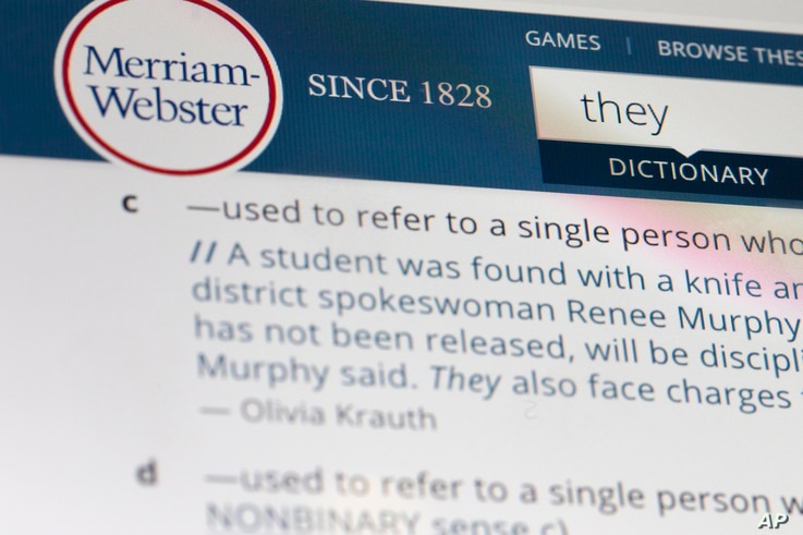 """The word """"they"""" is displayed on a computer screen on Friday, Dec. 6, 2019, in New York. The language mavens at Merriam-Webster…"""